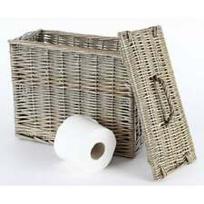 Antique Wash Wicker Toilet Loo Roll Basket Holder Tidy Storage