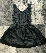 KINKY BLACK PVC LEATHER LOOK MINI SKATER DRESS MISTRESS SIZE VERY SMALL UK