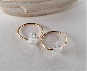 Herkimer Diamond Hoops Minimal Captive Gemstone Earrings Pair
