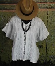 White & Silver Relaxed Poncho Mitla Oaxaca Huipil Hand woven Mexico Hippie Boho