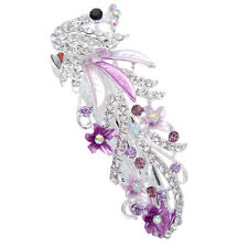 Purple Crystal Rhinestone Peacock Barrette Hairpin Hair Clip Gift Multi-colors
