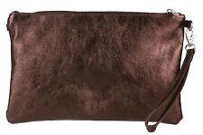 Genuine Italian Metallic Real Leather Clutch Bag Rose Gold Shimmer Handbag Wrist