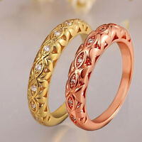 18K Yellow Gold Filled Rings Hot Sale Fashion Gift Rhinestone Womens Band Ring