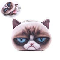 Cat Pattern Zipper Wallet Coin Purse Change Pouch Key Card Storage Bag