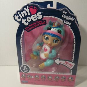 Playmates Toys Tiny Toes The Teenie Tiny Interactive Doll Laughin Luna, ages 4+