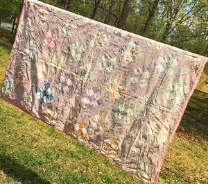 Vintage Hand Tied Farmhouse Patchwork Feedsack Fabric Lightweight Quilt FULL