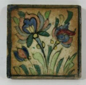 Antike Islamische Qajarkachel Rot blaue Pflanze Fliese Keramik um 1900