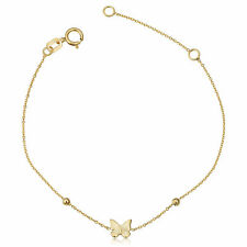 14k Yellow Gold Butterfly And Bead Adjustable Baby Bracelet, 6.5""