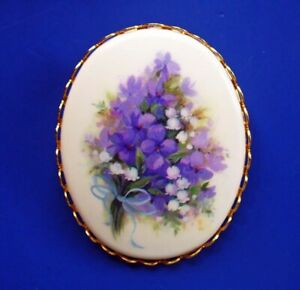 Hallmark PIN Vintage CAMEO VIOLETS with Lily Of Valley 1973 Brooch RARE