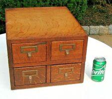 Antique 1910 Quartersawn Tiger Oak 4 drawer Stacking Desk Top Card File Cabinet