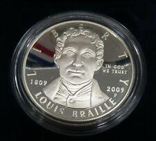 2009 LOUIS BRAILLE Commemorative DOLLAR PROOF  WITH BOX & COA