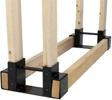 Sunnydaze Outdoor And Indoor Firewood Log Rack Bracket Kit - Black Powder-Coated