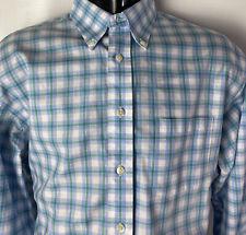 Brooks Brothers 346 Dress Shirt Oxford Non Iron Plaid Checks Blue Green sz L