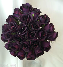 Silk Artificial Eggplant Aubergine Purple Rose Roses Wedding Bouquet flowers