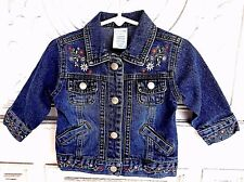 Adorable Wonder Kids Denim Jean Jacket w/embroidered flowers size 12 months EUC