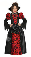 Girls Victorian Vampire Queen Costume Long Fancy Dress Halloween Outfit Age 3-12