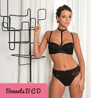 Ensemble lingerie pinup original soutien gorge noir satiné collier string sexy
