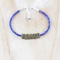 "Magnificent Pyrite+Lapis Gemstone Square+Rondelle Faceted Jewelery Bracelet 7""./"
