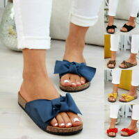 Ladies Slip On Sliders Bow Flatform Mule Sandals Comfy Shoes UK Sizes 2.5-8.5 K