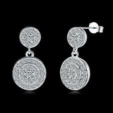 Elegant 925 Sterling Silver Filled SF Woman Round CZ Dangle Earrings E-A686 Gift