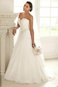 New White/Ivory Chiffon Strapless wedding bridal dress size 6 8 10 12 14 16