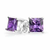 1CT Purple Princess Cut CZ Stud Earrings 925 Sterling Silver  Simulated Amethyst