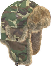 MENS HUNTERS FUR TRAPPER HAT winter stealth ushanka British army wood tree camo