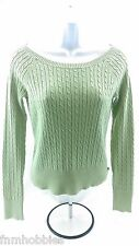 CLOTHES: Aeropostale Woman's Sage Green Cable Knit Sweater sz: L Slim Fit GUC