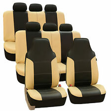 3Row Highback SUV Van Seat Covers Royal Leather for Auto Black Beige