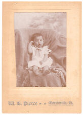 Beautiful Baby Girl, Fashion Dress. Antique Cabinet Card W.E. Pierce Morrisville