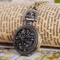 HS 1 Bronzefarben Halskette Libelle Rund Quarz Taschenuhr 84cm