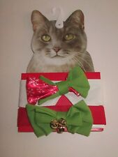 TWO Kitty CAT HOLIDAY BOW TIES New 2 Jingle Bells CHRISTMAS Pet RED & GREEN