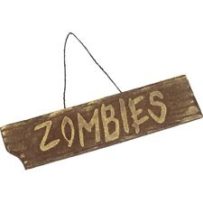 Hanging Zombie Sign Halloween Fancy Dress Party Decoration 40cmx10cm