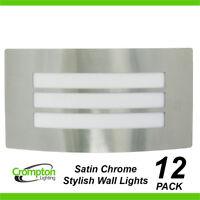12 x Large Satin Chrome Bunker Wall Lights Rectangular w Grille Outdoor Exterior