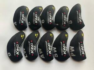10PCS Club Headcovers for Cobra King Speedzone SZ Iron Covers 4-LW Black&Black