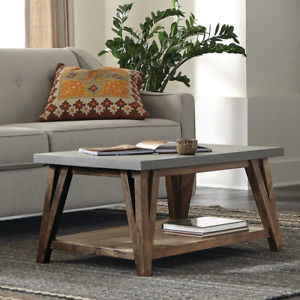 Carbon Loft Omer 36-Inch Concrete Coated-Top Wood Coffee Table
