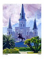 """New Orleans St. Louis Cathedral 12""""x16"""" Artist, Giclee Print, Impressionism"""