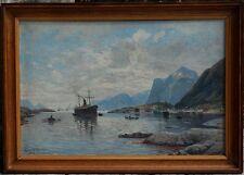 Siguard Olsen, 1912, Bénézit, Coté 3500€! Paquebot dans un Fjord! Rare!
