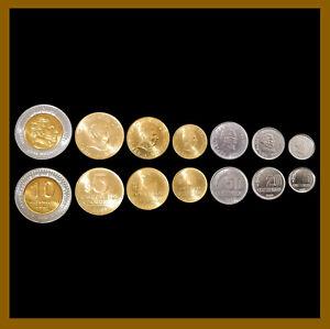 Uruguay 10 20 50 Centimes & 1 2 5 10 Pesos (7 Coins Set) 1994 -2005 Bimetallic