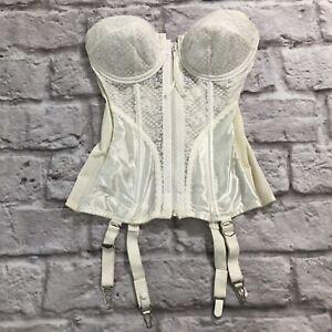 Victorias Secret Lingerie White Zip Corset Underwire Garter Straps Size 34D