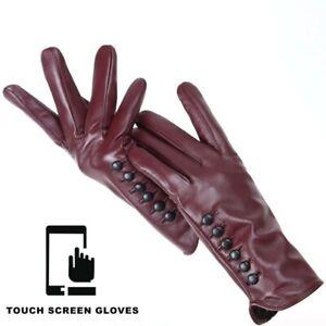Burgundy women's leather gloves Bordo autumn winter warm gloves touch screen glo
