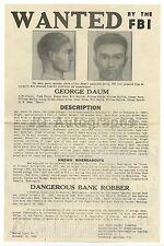 "Wanted By The FBI - ""George Daum / Bank Robber"" - J. Edgar Hoover 1944"