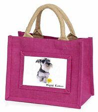 'Happy Easter' Schauzer Dog Little Girls Small Pink Shopping Bag C, AD-S67DA1BMP