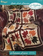 Autumn Leaves Afghan Quilt Look TNS Crochet Pattern Leaflet NEW Rare