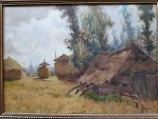 Painting Dirk Jan Hazelzet (1889-1953), Landscape with house and Dutch barns