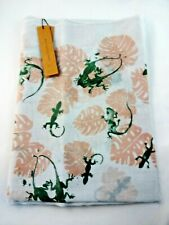 Cotton Scarf Lizard Design White Pink Green Long Rectangle Fringed Edge Look