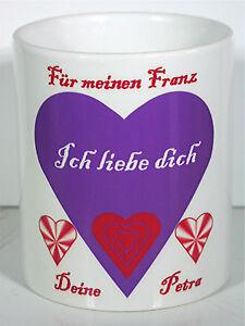 """Kaffeetasse für verliebte """"ich liebe dich """" mit beiden Namen Nr. 2"""