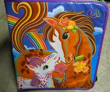 🌈 Vintage 1990's Lisa Frank Horses Trapper Keeper Ponies Zipper Binder Rainbow