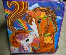 🌈 Vintage 1990's Lisa Frank Horses Trapper Keeper Ponies Zipper Binder Rainbow