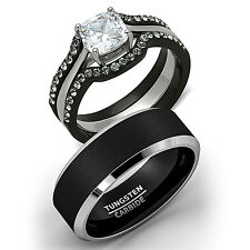 Lovely His Tungsten U0026 Hers 4 Pc Black Stainless Steel Wedding Engagement Ring Band  Set
